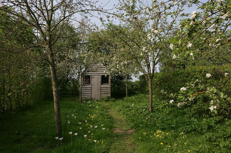 Een pad door lang gras maaien